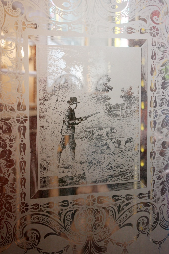 Antique Door With Figural Etched Glass Hunting Scene With