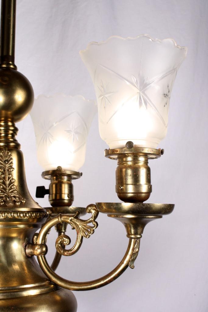 Splendid Antique Four Light Brass Victorian Chandelier 19th Century Nc734 For