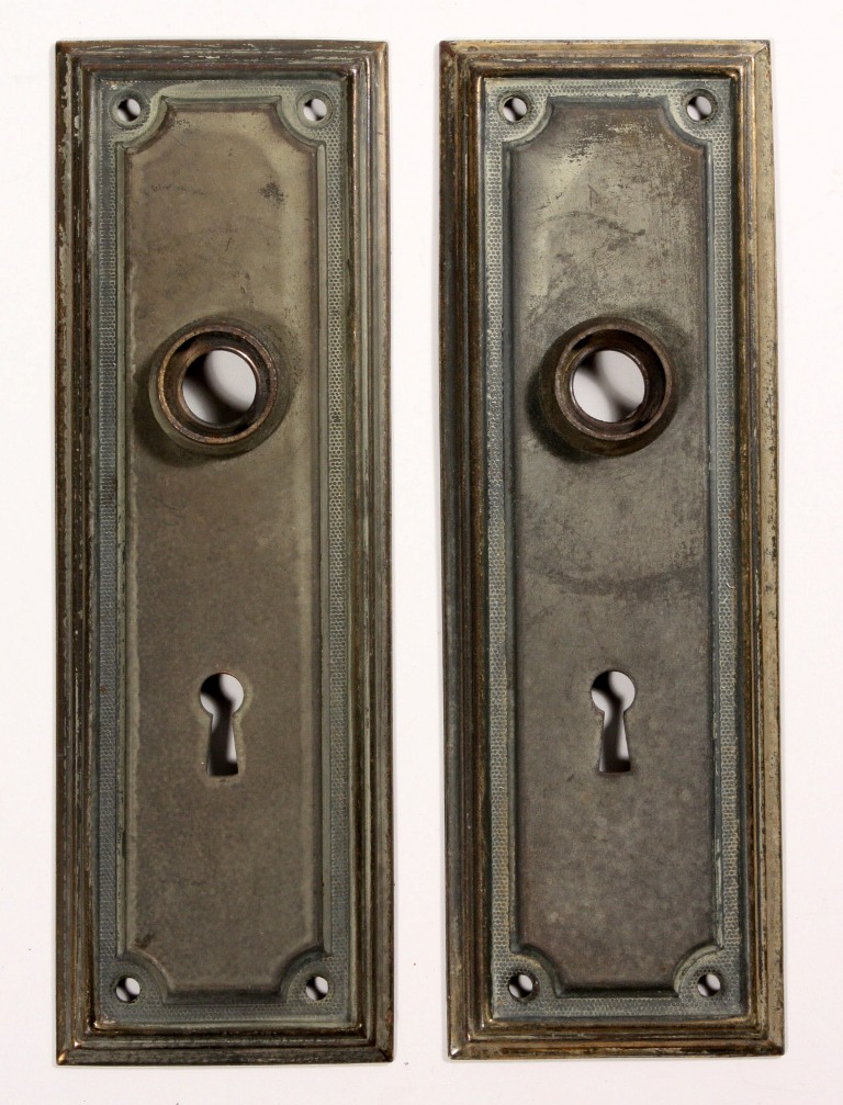 Antique brass arts crafts door hardware set with knobs for Arts and crafts hardware