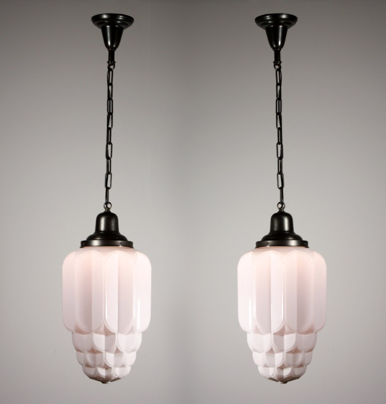 Two Matching Antique Art Deco Skyscraper Pendant Lights