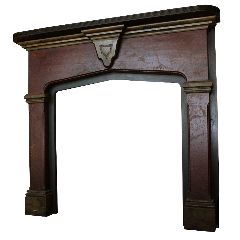 Striking Antique Wood Fireplace Mantel With Original Faux Finish C 1870 Nfpm40 Rw For Sale