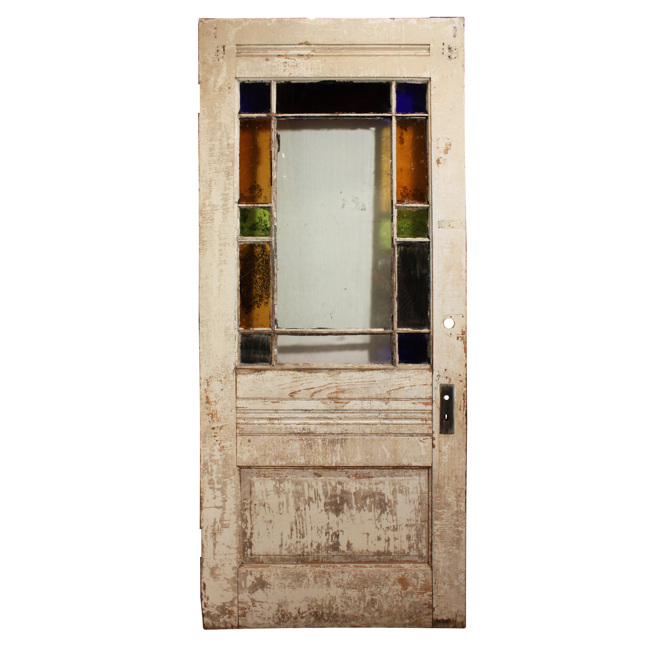A Wonderful Antique Exterior Door Featuring Stained Glass Border And Lower Central Panel With Carved Wheat Stalk Medallion Dating From The 1880 S