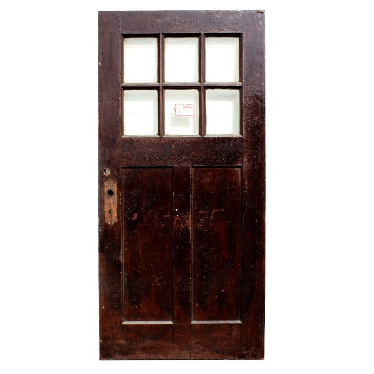 Large Salvaged Arts Crafts 40 Entry Door Oak With Beveled Glass NED12