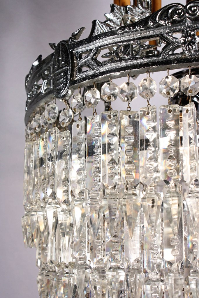 Superb Antique Six Tiered Chandelier with Crystal Prisms