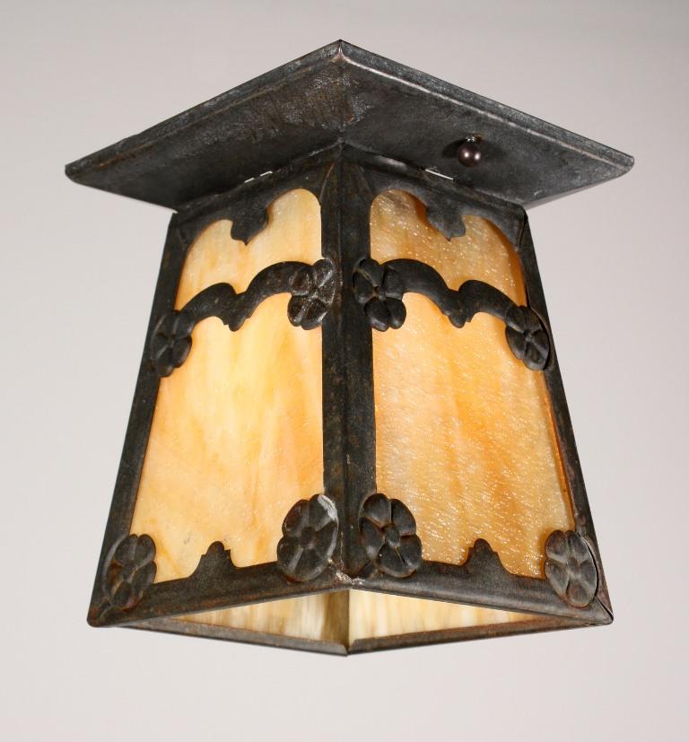 Charming antique arts crafts flush mount light fixture for Arts and crafts flush mount lighting