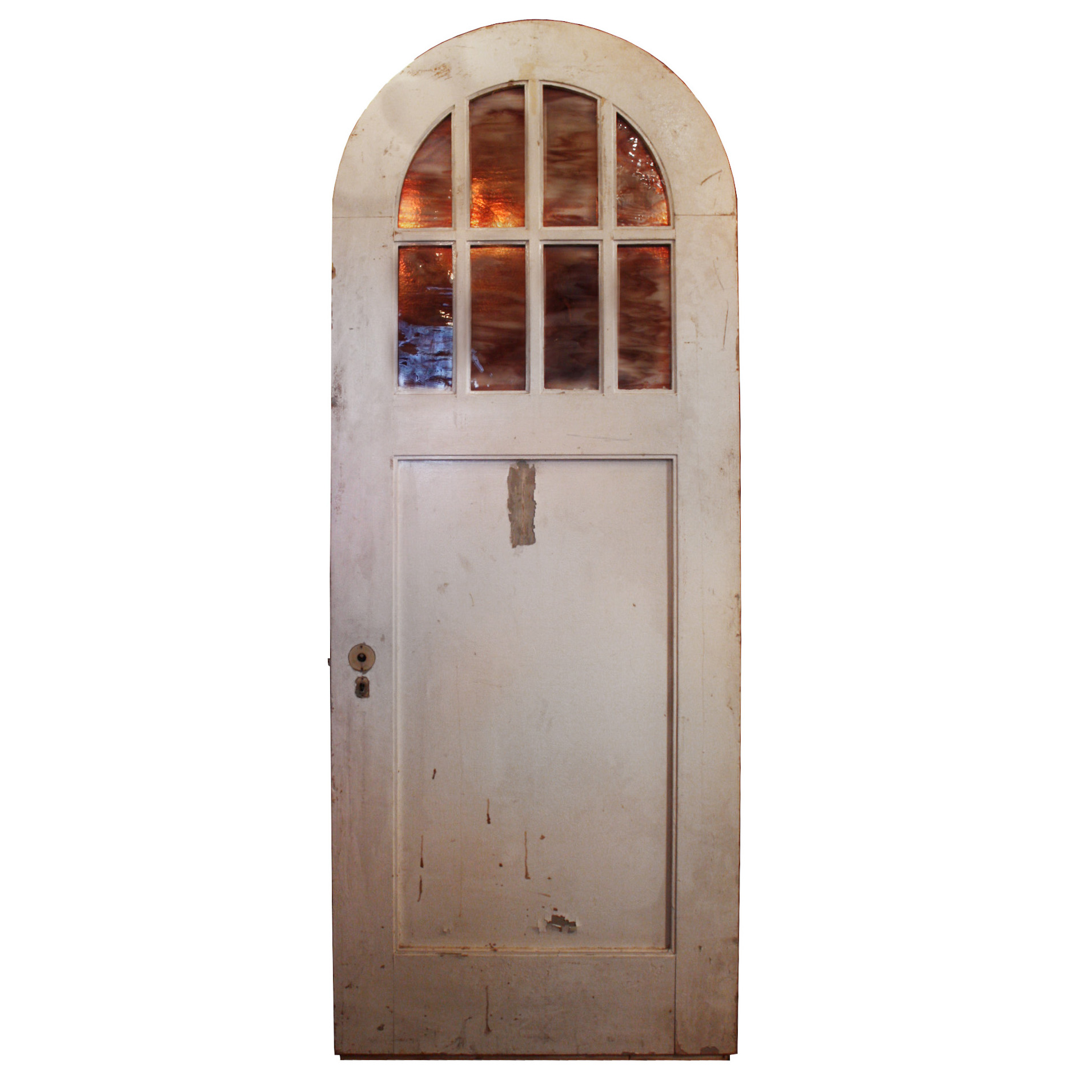 1912 #A45427 Antique 32 Exterior Arched Door With Arched Window Lavender Slag  picture/photo Arched Doors With Glass 42191912