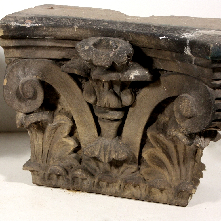 Remarkable pair of antique carved limestone corinthian