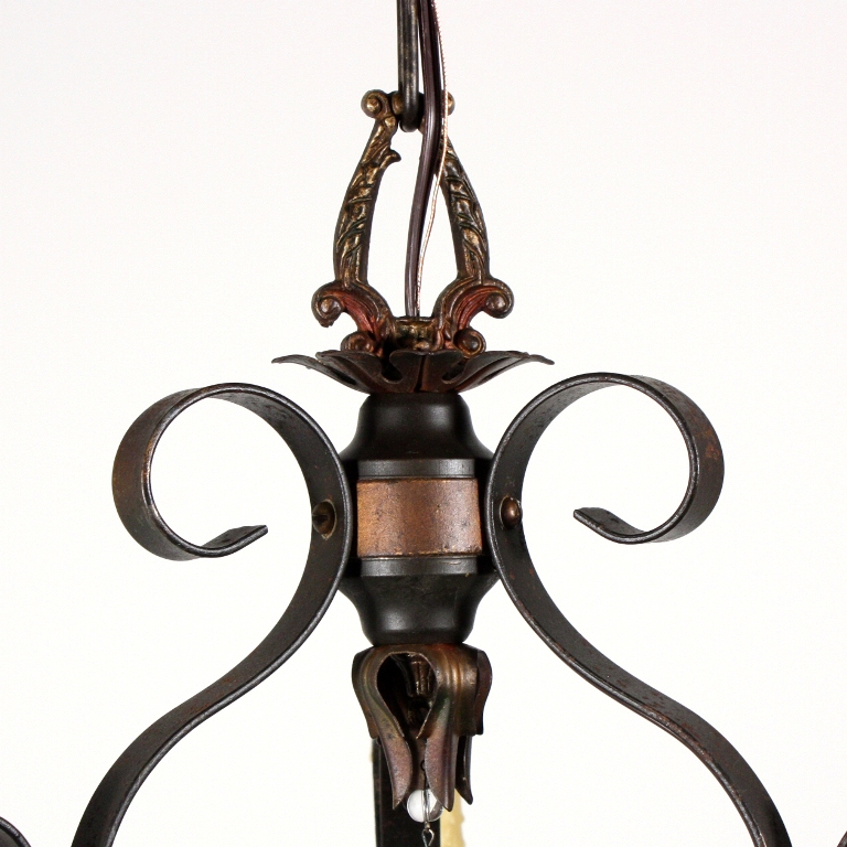 Handsome Antique Three Light Iron Chandelier Early 1900s