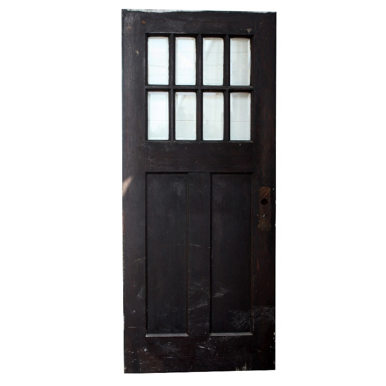 Salvaged arts crafts oak entry door with beveled glass for Exterior glass doors for sale