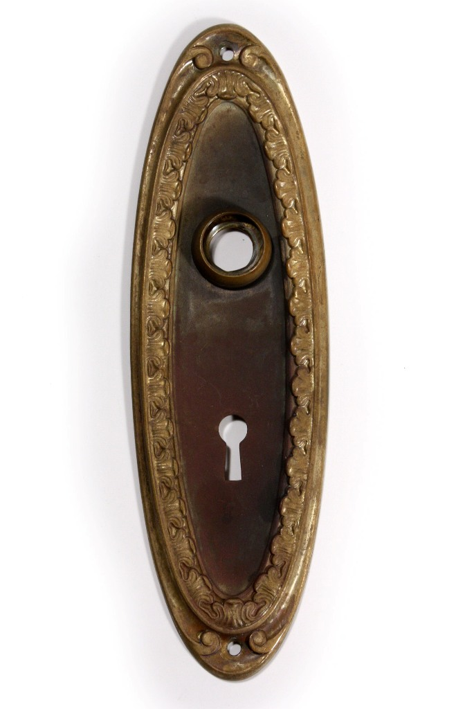 Antique Oval Brass Doorknob Sets, Circa 1910, With Matching Oval  Backplates. Both The Door Knobs And The Plates Feature A Matching Leaf  Border; ...