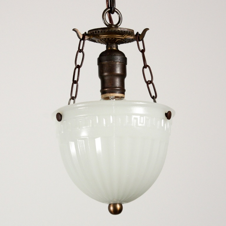 three matching antique inverted dome pendant lights opaline glass