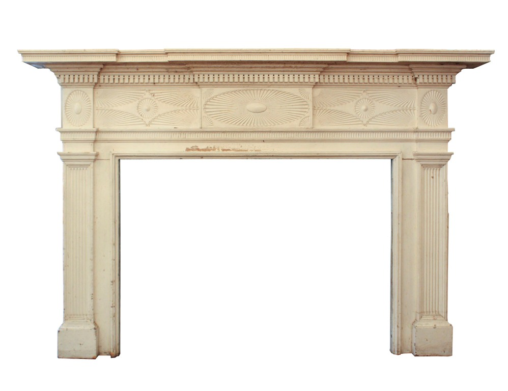 Very Large Antique Carved Federal Fireplace Mantel 1823 Nfpm18 For Sale