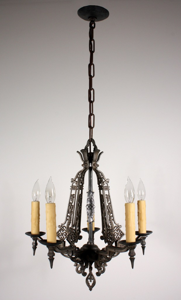 Amazing antique five light spanish revival chandelier for Spanish revival lighting