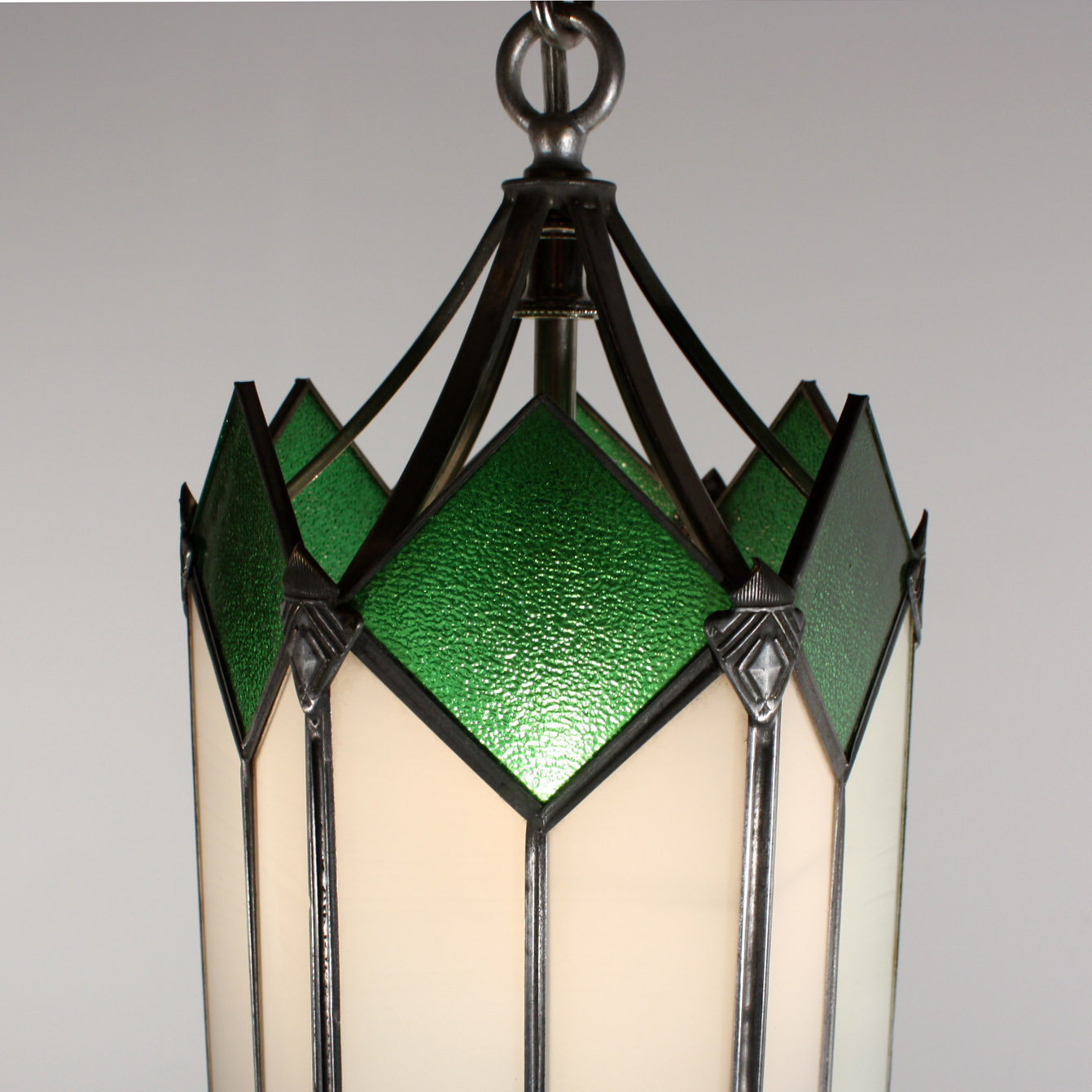 deco pendant light with original stained glass nc1438 rw for sale. Black Bedroom Furniture Sets. Home Design Ideas