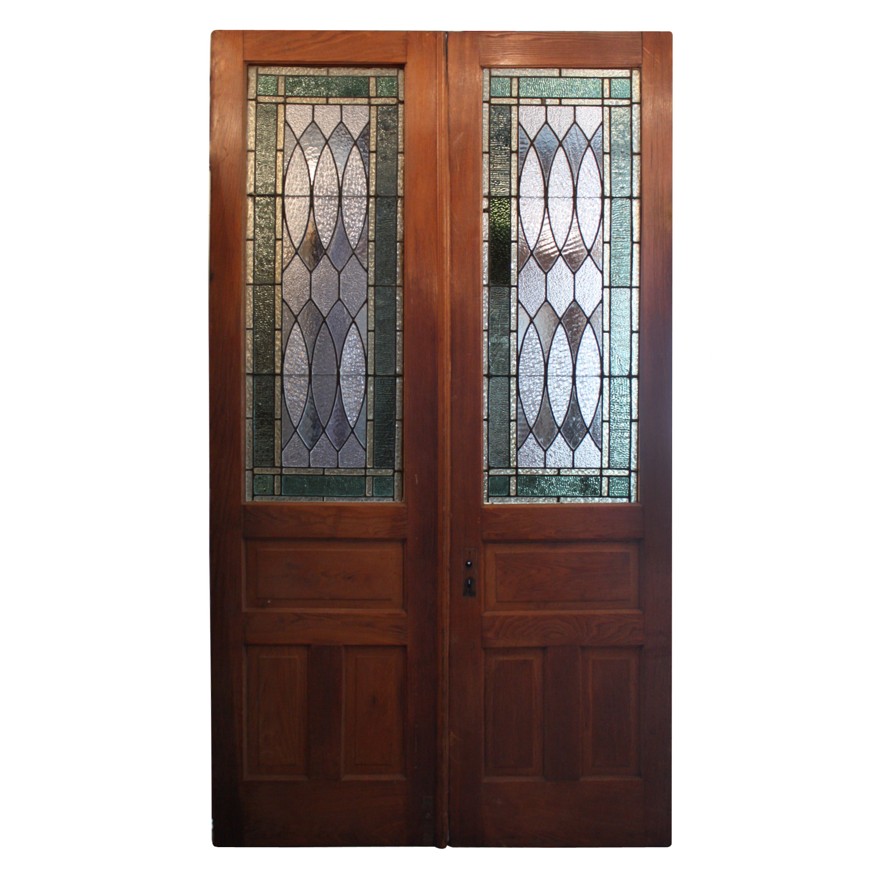 Superb Antique Pair Of Oak Doors With Stained Glass Early 1900 S Ned225 Rw For