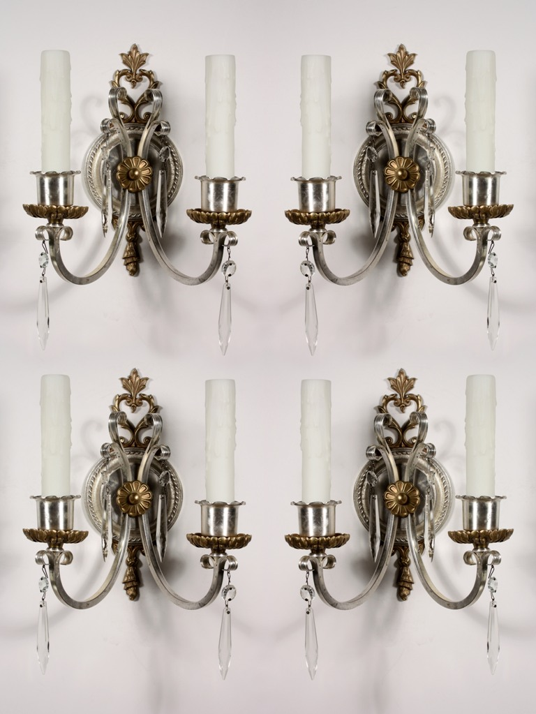 Antique Georgian Wall Sconces : Four Matching Antique Georgian Double-Arm Sconces with Prisms, Silver Plate -- ONE PAIR ...