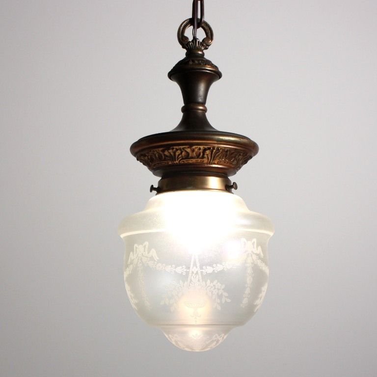 neoclassical lighting. Charming Antique Neoclassical Pendant Light With Original Acid Etched  Shade, C. 1905 NC1290-RW - For Sale Neoclassical Lighting