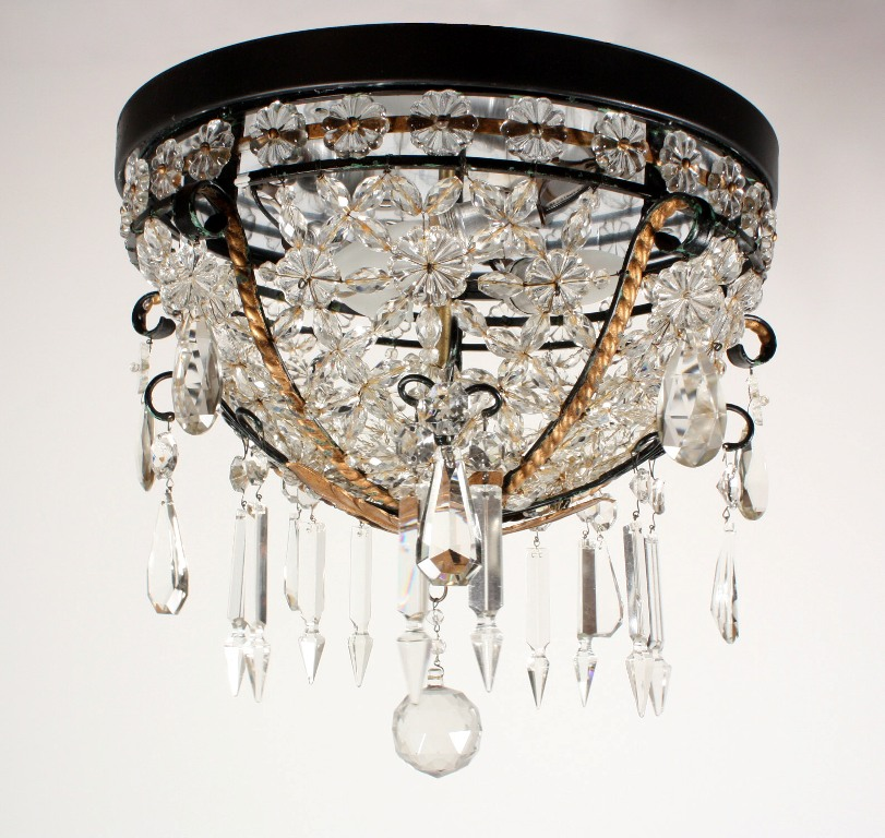 Amazing Antique Flush Mount Beaded Basket Chandelier With Crystal Prisms Nc1089 For