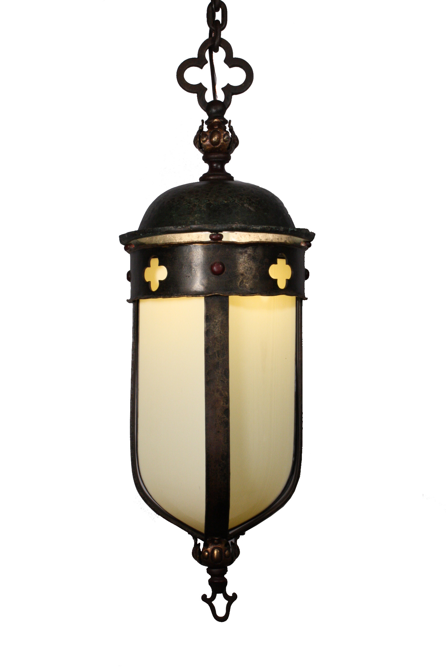 Large Antique Gothic Revival Lantern, Iron & Bronze, Early ...