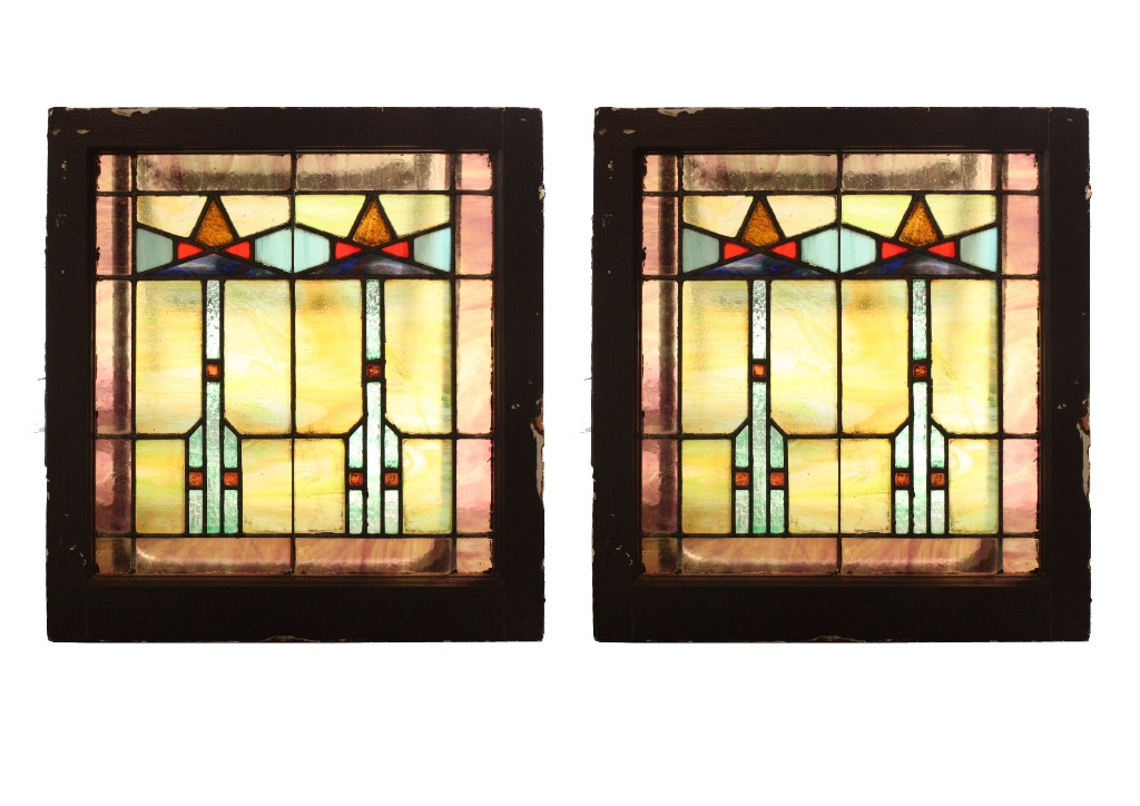 Two matching antique american arts crafts stained glass for Arts and crafts glass
