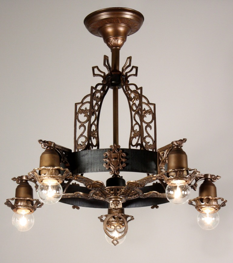 Antique spanish revival semi flush five light chandelier for Spanish revival lighting