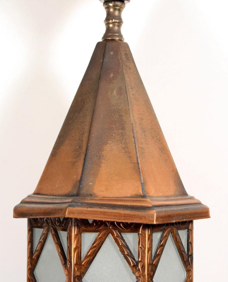 Porch Light Appraisal: Three Matching Antique Exterior Copper Lanterns NC1092 For