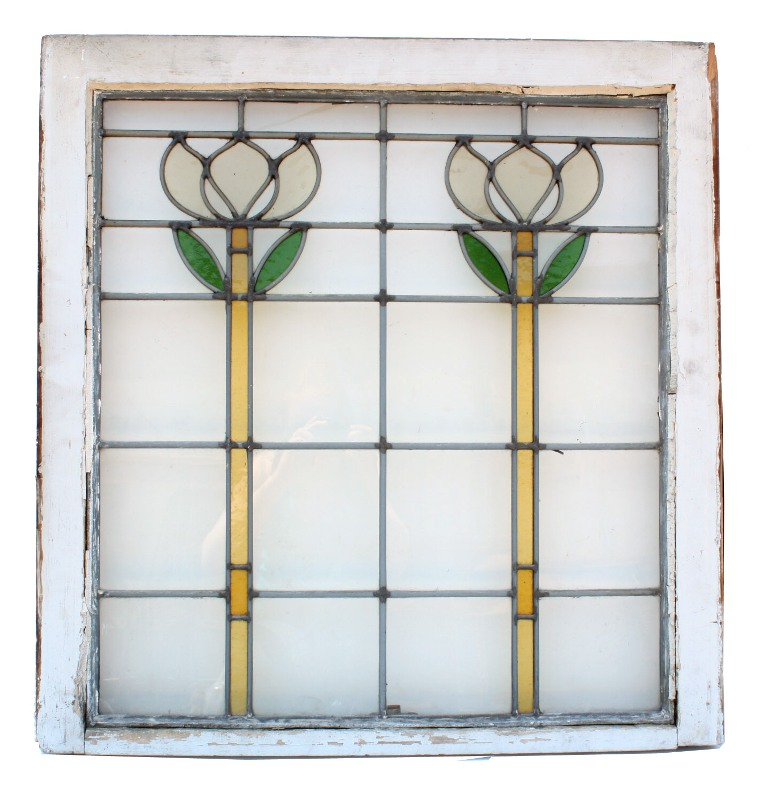 Matching Antique Floral American Stained Glass Windows