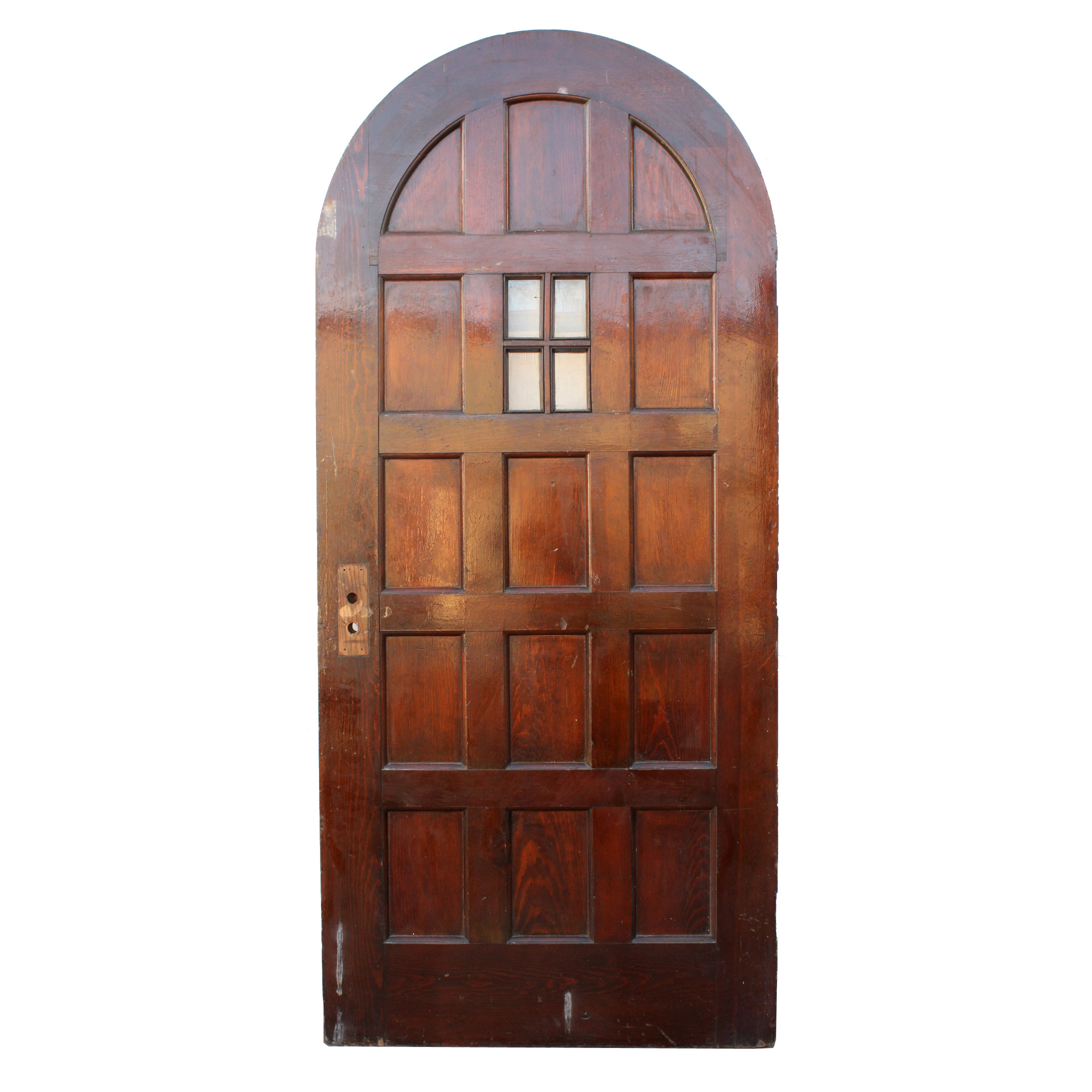 Antique exterior 36 arched door with panels and window for Exterior doors for sale