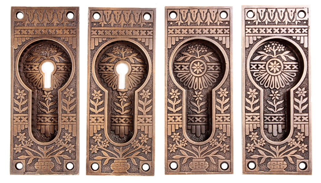 "Complete Antique Lockwood ""Broken Leaf"" Pocket Door Hardware Set for Double  Doors, 1880's NPDP9 - For Sale - Complete Antique Lockwood ""Broken Leaf"" Pocket Door Hardware Set"