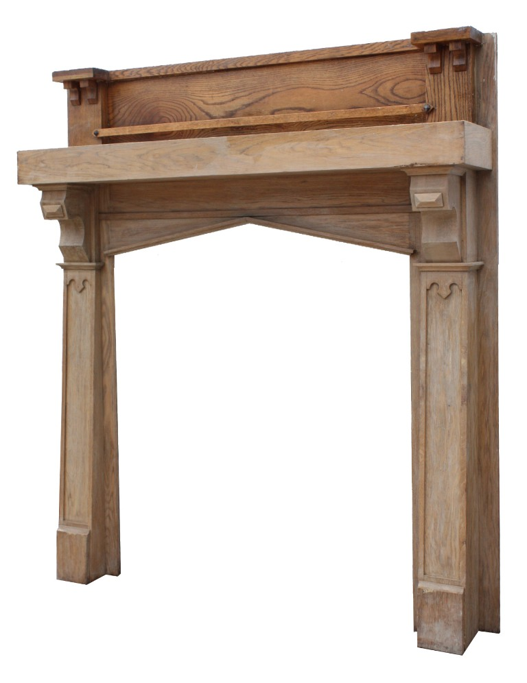 Superb Antique Oak Fireplace Mantel With Triangular Arched Opening Nfpm15 For Sale Antiques