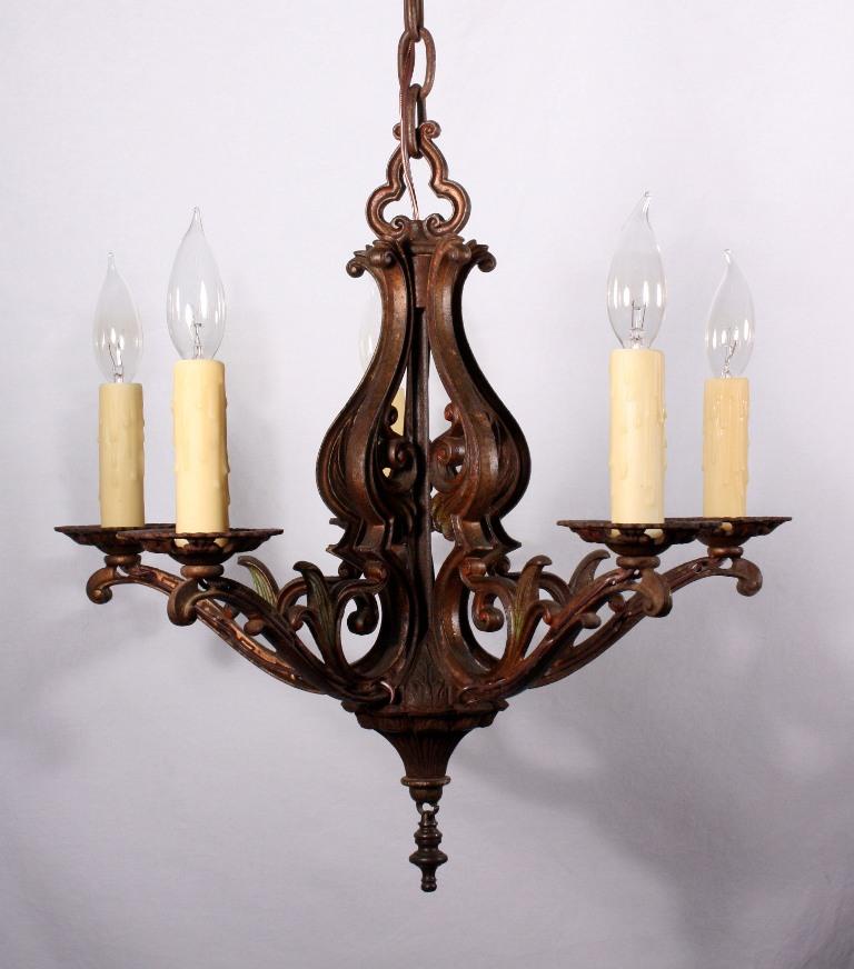 Graceful antique five light art nouveau chandelier cast for Chandelier art nouveau