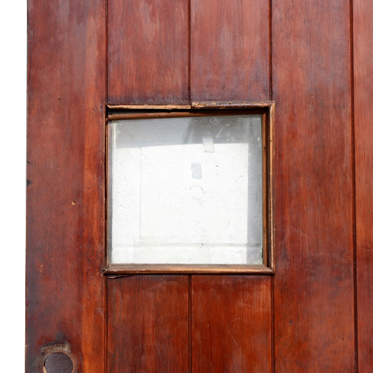 Unique antique exterior 36 plank door with small glass for Entrance doors for sale