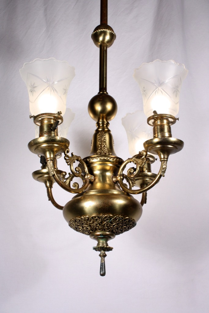 This Is A Fabulous Antique Brass Victorian Four Light Chandelier Dating From The 19th Century With Wheel Cut Shades Comes Down In Pole