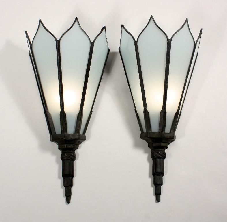 Pair of Large Antique Art Deco Pocket Sconces with White Flashed Glass NSP645 For Sale ...