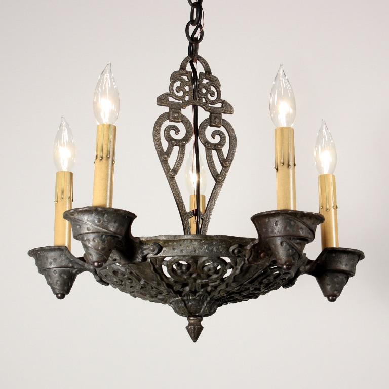 Fabulous Antique Tudor Five Light Iron Chandelier NC1179 RW For Sale Antiqu