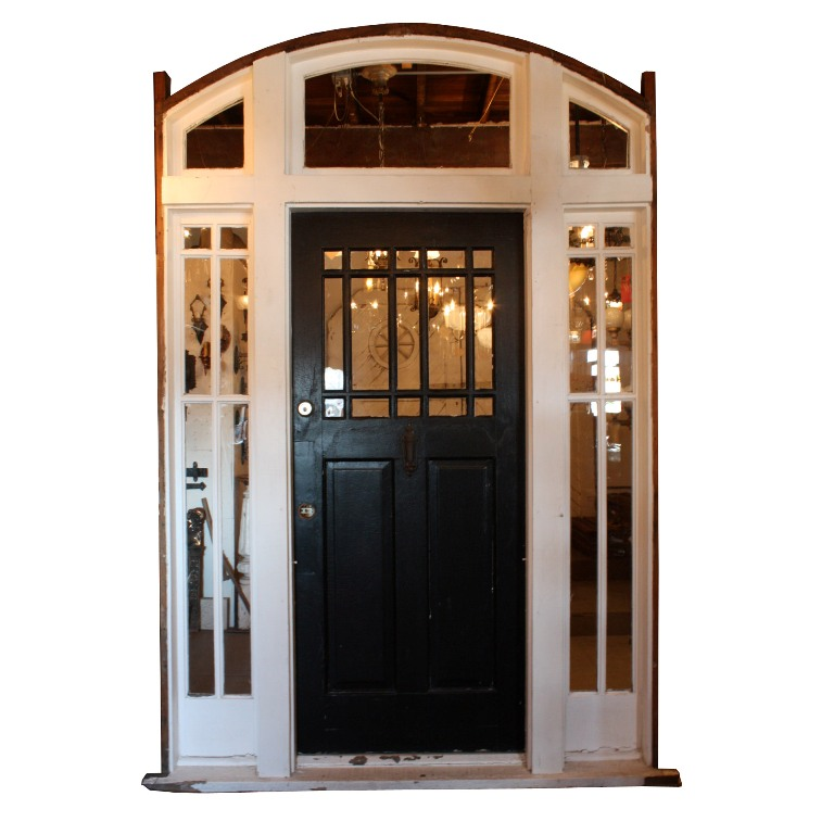 Antique Arts U0026 Crafts Entryway, 36u201d Door With Sidelights U0026 Transom NED94    For Sale