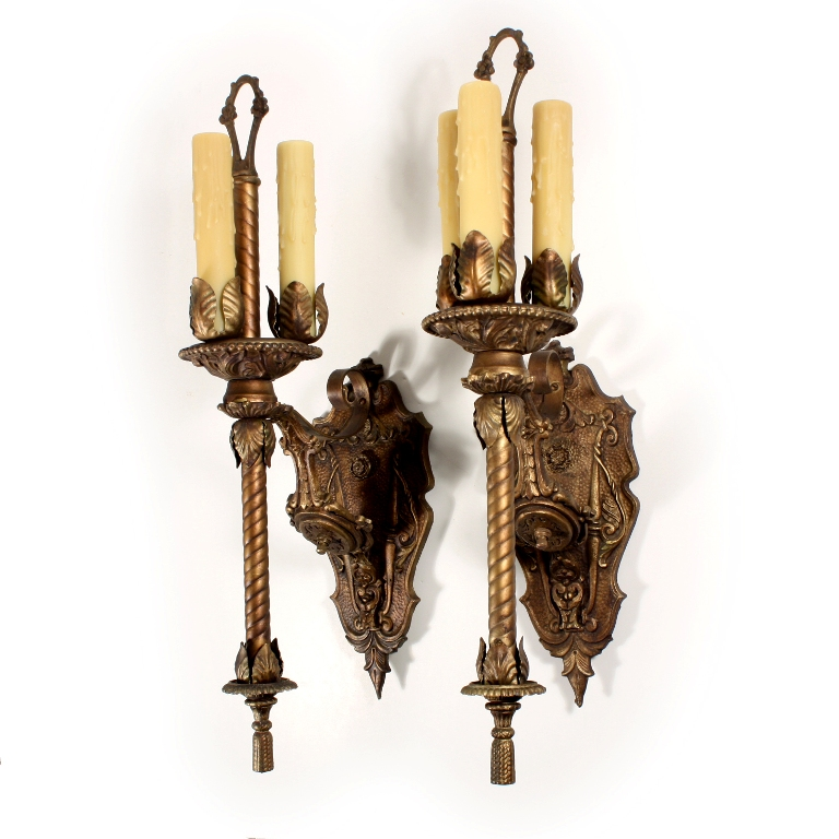 Dramatic Pair of Antique Spanish Revival Three-Light Sconces, c. 1920s NSP751 For Sale ...