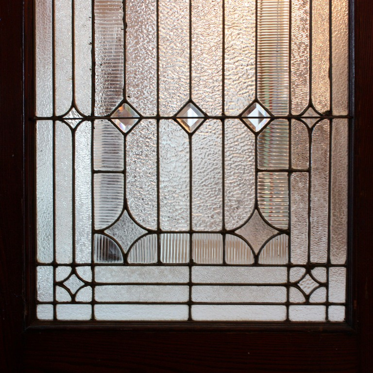 "Incredible Antique 42"" Exterior Door with Beveled and Jeweled Leaded Glass,  c. 1905 NED123 - For Sale - Incredible Antique 42"" Exterior Door With Beveled And Jeweled"