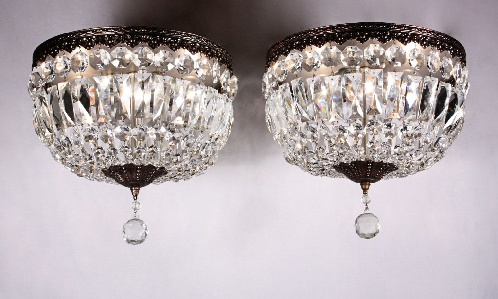 Two Matching Antique Flush Mount Light Fixtures Crystal