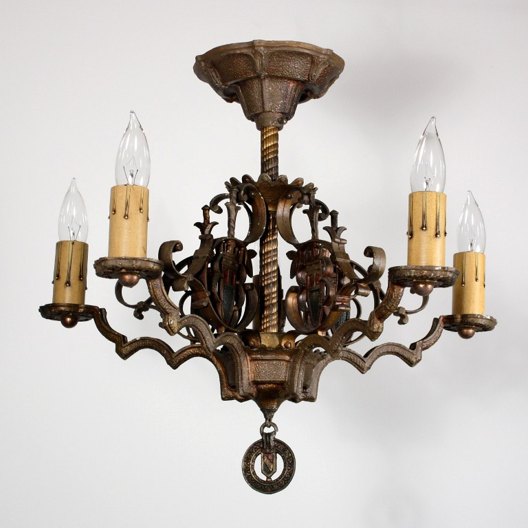 Fabulous antique spanish revival five light flush mount for Spanish revival lighting
