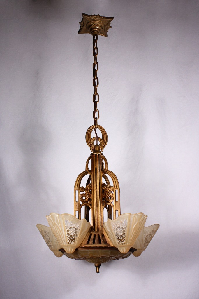 Fantastic Antique Five Light Art Deco Slip Shade Chandelier By Consolidated G