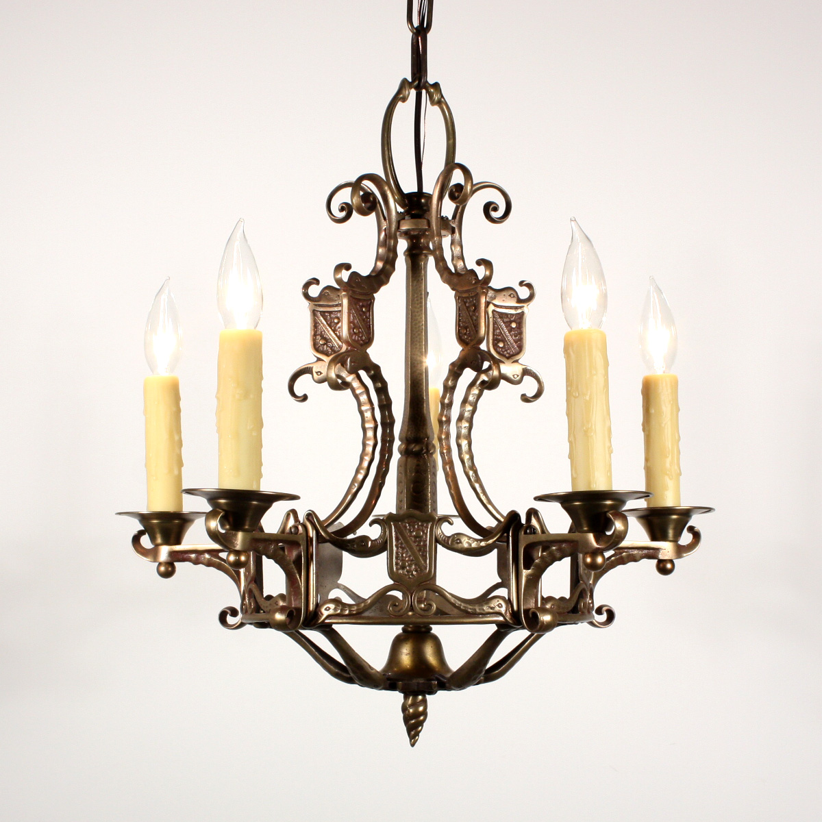Antique Figural Spanish Revival Five Light Chandelier With