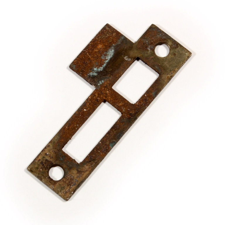 "Antique strikeplates (also known as ""keepers"" or ""strikers"") to fit antique  door hardware. This salvaged strike plate measures 3-1/2"" long overall and  has a ... - Antique Strike Plates For Mortise Locks, 1/4"" Spacing NSTP17 For"