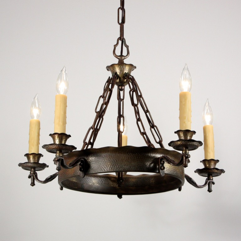 Handsome Antique Spanish Revival Five Light Chandelier C