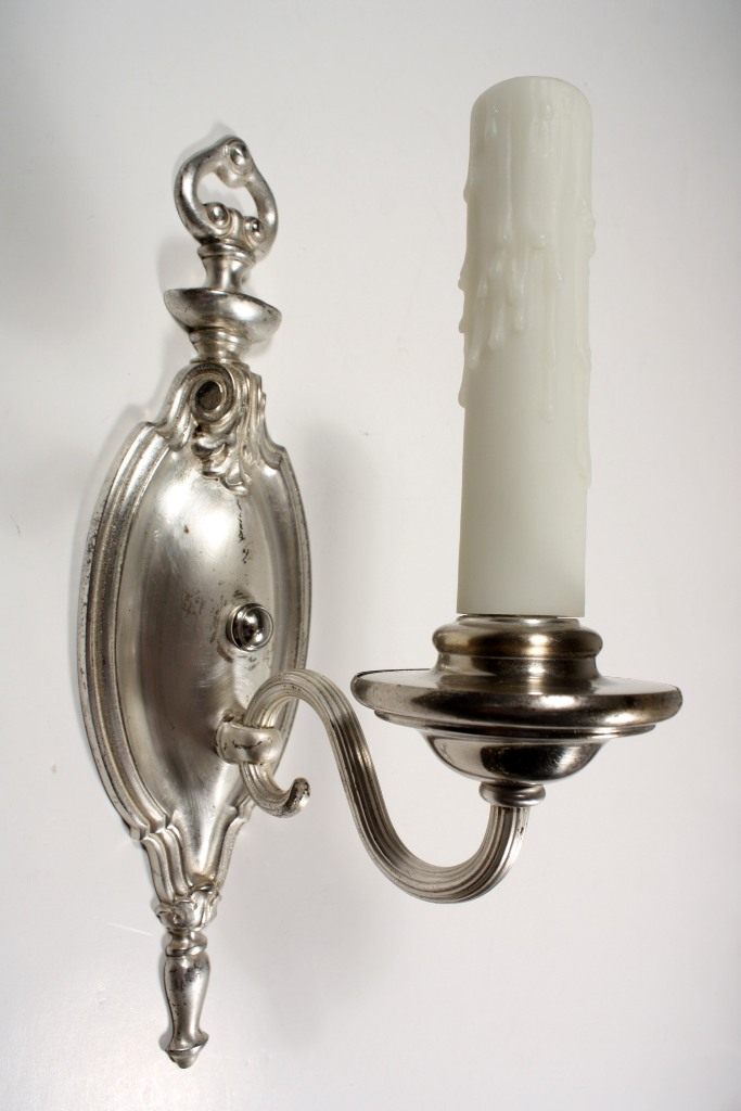 Antique Georgian Wall Sconces : Elegant Pair of Antique Silver Plated Single-Arm Georgian Sconces NSP637-RW For Sale Antiques ...
