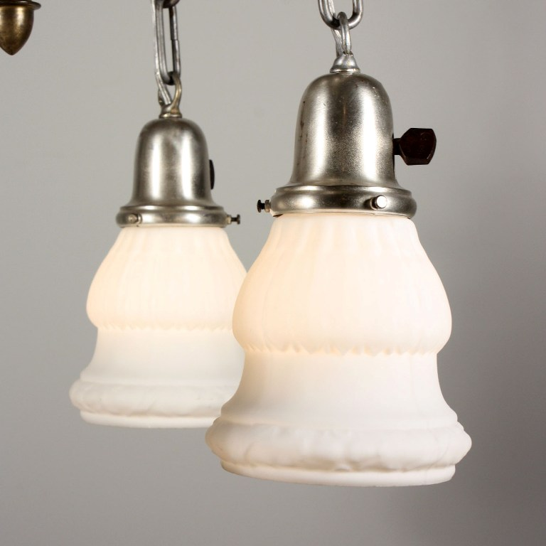 Wonderful Antique Four Light Chandelier With White Glass