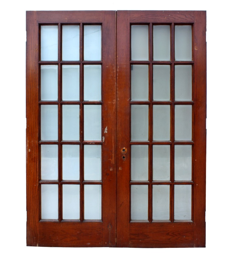 Fabulous pair of salvaged 30 french doors oak with beveled glass fabulous pair of salvaged 30 french doors oak with beveled glass ned50 for sale planetlyrics Gallery