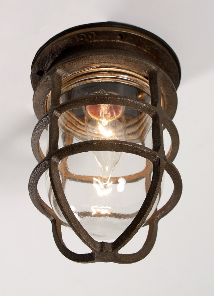 Antique industrial cast bronze cage light fixture with original antique industrial cast bronze cage light fixture with original glass signed oceanic nc1029 for sale aloadofball Gallery