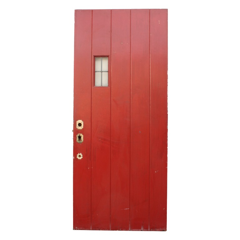 Unique antique exterior 36 plank door with small leaded for Small exterior doors for sale