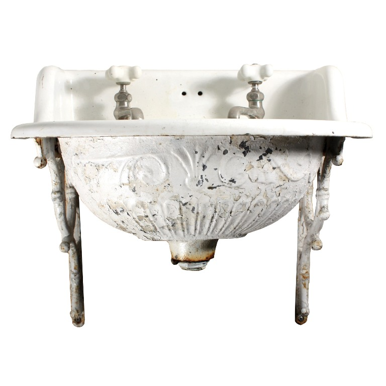 Vintage Wall Sink : Rare Antique Wall-Mount Sink with Decorative Detail, 19th Century NSK1 ...